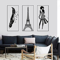 Wall Decal Paris Eiffel Tower Feather Romantic Girl France Three Piece Set Unique Gift z2851