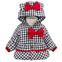 2017 Fashion Baby Girl Winter Coat clothes Cotton Bow Hooded Coat Thick Warm Outwear Clothes baby girl clothes baby Clothing