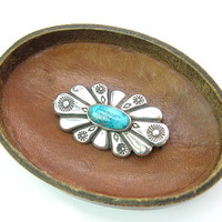 Old Navajo Turquoise Brooch. Oval Sterling Silver. Radiant Concho Style. Hand Stamped Suns Diamonds. Vintage 1960s Native American Jewelry