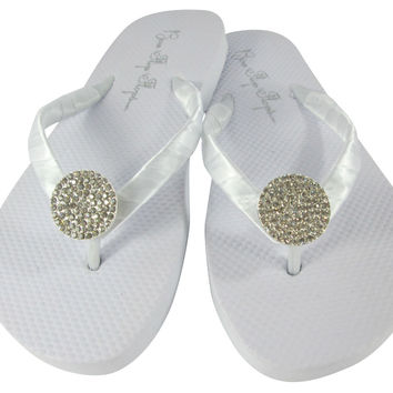 Round Jewel White Flat Flip Flops, Rhinestone Bridal and Bridesmaid Sandals