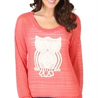 Long Sleeve High Low Knit Sweater with Crochet Owl Patch