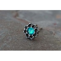 Lotus Flower with Teal Opal Nose Ring Nose Stud