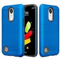 LG K20 Plus Case, LG K20 V, K10 2017 Slim Hybrid EZ Grip Dual Layer[Shock Resistant] Metallic Brush Armor Case Cover - Blue