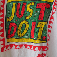 Vintage Vtg NIKE Just Do It Swoosh 90's Streetwear Swag Og Basketball Jordan White T shirt Size L