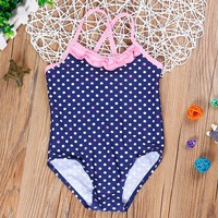 2018 Baby Girls Swimming Suit Girls Dot Swimsuit One-Piece Swimming Bathing Suits For Children Swimsuit Girls SW702-R1