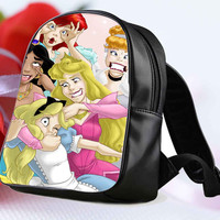 "Disney princess funny for Backpack / Custom Bag / School Bag / Children Bag / Custom School Bag ""NP"""