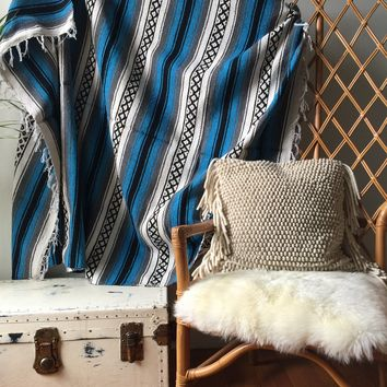 Blue, White & Black Striped Mexican Aztec Falsa Blanket - Cabin, Festival, beach, Wall Hanging
