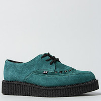 The Pointed Toe Tie Creeper in Teal Suede