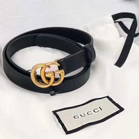 GUCCI Fashion GG Smooth Buckle Belt Leather Belt + Gift Box