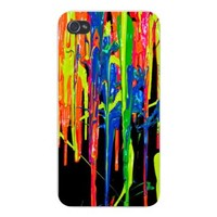 Apple Iphone Custom Case 4 4s White Plastic Snap on - Thick Colorful Paint Dripping Splatters on Black