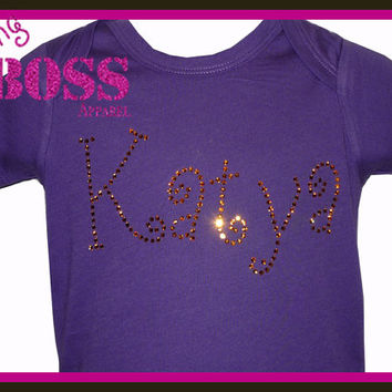 Swarovski Name Shirt rhinestone Onesuit Bling Team Tee Sparkle Girls Baby Custom Personalized Custom Design Colors Sports Name Personalized