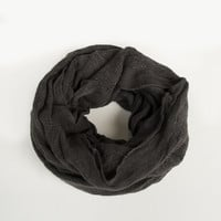 Stitched Squares Infinity Scarf - Charcoal - Charcoal / One
