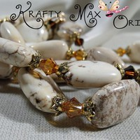 Magnesite and Brown Swarovski Crystals are Pure Delight Necklace Set