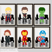 Superhero Prints  - Comic Book, Boy's Room Decor, Playroom, Super Hero Nursery, Superhero Decor, 5x7 Prints, Captain America-The Hulk-Thor