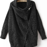Black Cowl Neckline Cardigan Sweater with Metal Detail