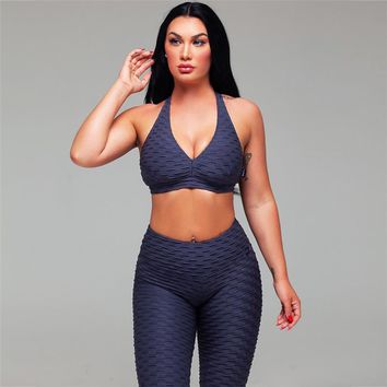 2018 New Sexy Yoga Sets Women Workout Gym Clothes Fitness Running Tracksuit Sports Leggings+Crop Top 2 Piece Set