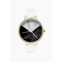 Round Marble Watch W/ Faux Leather Strap - White