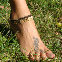 Macrame hippie gypsy beaded Anklet with natural sea shell charms, for her, hippie jewelry, gypsy bracelet