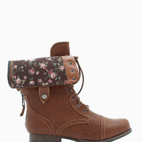 Jetta 25R Floral Lined Cuff Down Combat Boot