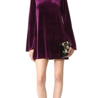 Velvet Dress Sexy Fit and Flare Dresses Autumn/Winter Warm Vestidos Robes Long Sleeves Chic Purple Red
