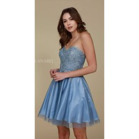 Homecoming Dress Short Sky Blue A Line Strapless Sweetheart