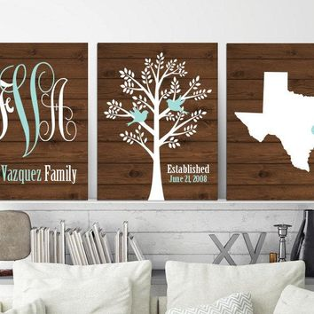 Family Tree State Wall Decor, Family Monogram Wall Art, Monogram Tree State CANVAS or Print Custom Personalized Wedding Gift, Set of 3 Art