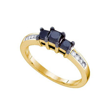 Black Diamond 3 Stone Ring in 10k Gold 0.83 ctw