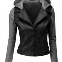 Doublju Women's Double Layered Hooded Faux Leather Jacket