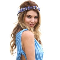 Eterie Daisy Chain Flower Headband, gypsy, Headpiece, Daisy, woodlands , bohemian, Blue flower, floral crown, Flower Crown, wreath, etherial