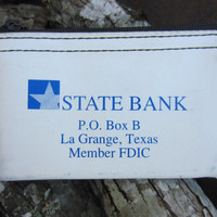 70s White Texas State Bank Change Purse // Vintage Wallet // Small Bank Bag // Zipper Billfold