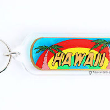 HOT VINTAGE HAWAII/ RAINBOW KEYCHAIN, COLLECTABLE ITEM, 60s - 70s, USED