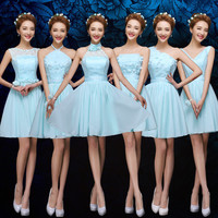Sky Blue Bridesmaid Dresses Mixed Styles Chiffon Summer Wedding Party Gown Cheap Bridesmaid Dresses Under 50 Prom Dresses