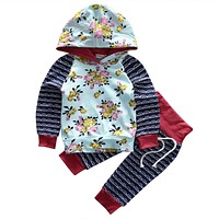 Floral Newborn Infant Baby Girl Clothes Set Long Sleeve Hooded Pullover Sweatshirt Top Pant 2PCS Toddler Kids Clothing Tracksuit