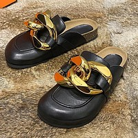 Personality Chain Baotou Half Slippers Flat Casual Loafers Ladies Shoes Stockings Shoes Dress Bikini bag