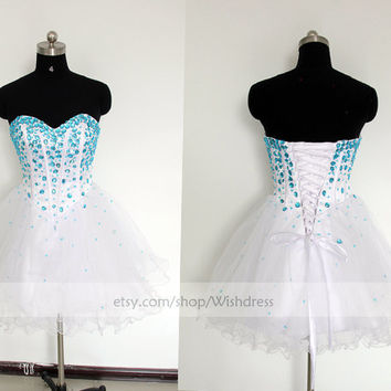 Custom Made Bicolor Tulle Short Prom Dress/ Cocktail Dress/ Party Dress/ Homecoming Dress /Sweet 16 Dress By Wishdress