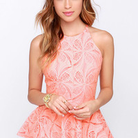 Pleased to Chic You Bright Peach Lace Peplum Top