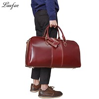 Fashion Women men Travel Bags Big Capacity Glossy Genuine Cow Leather Travel Duffel bag Business Work Tote Luggage weekend bag