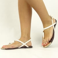 """Gravity"" Braided T-Strap Sandals - White"