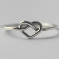 Sterling silver Knot Heart Ring , Infinity Love Symbol. Friendship ring. 925. Bridesmaid gift. Valentine day, Infinity knot, Statement rings