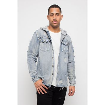 Hooded Distressed Denim Button Up Shirt