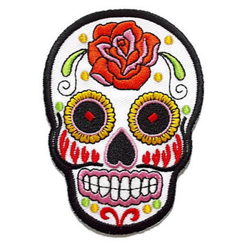 White Sugar Skull Ghost Halloween Patch New Iron On Patch Embroidered Applique Size 6.5cm.x9cm.