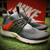 Best Online Sale Nike Air Presto Mid Utility BR Breathe Sport Running Shoes Men Grey Black Red Shoes 859524-004