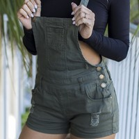 On My Bucket List Olive Short Overalls