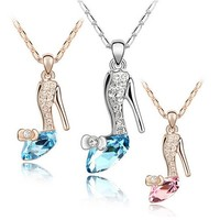 High Quality Trendy Gold/Silver Plated Crystal Cinderella Glass Slipper Pendant Necklace Jewelry For Wo Whole