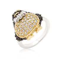 Jet Black Cubic Zirconia Penguin Ring, size : 09