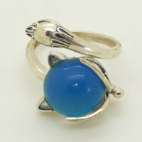 Sterling Silver Wrap Around Fox Mood Ring, Adjustable