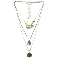 3 Row Charms Necklace - Gold/Black/Silver