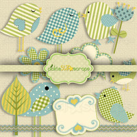 In the Nest Vol1 - Clip Art Printable Pack - Textured Clip Art - INSTANT DOWNLOAD