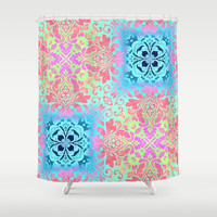 vintage bohemian colorful pastel colors abstract pattern Shower Curtain by chicelegantboutique