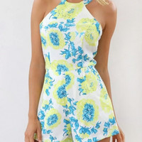 Blue Floral Halter Backless Romper